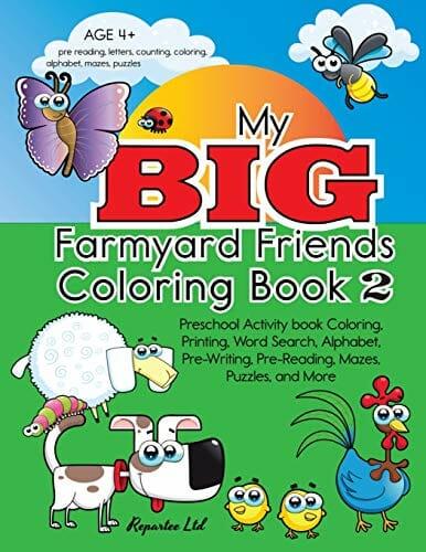 My Big Farmyard Friends Coloring Book 2 Preschool Activity Book Coloring
